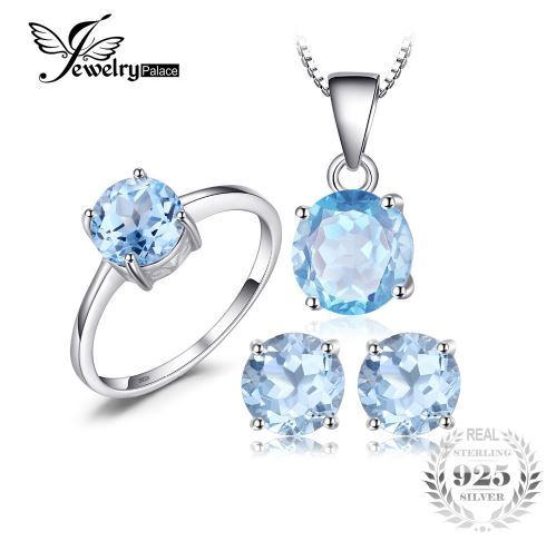 Natural Blue Topaz Sterling Silver Ring Earrings Pendant Necklace Jewelry Set