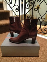 Luxe New Women's Prada Textured Brown Leather Size 10 B Boots $780 - $282.14