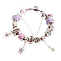 Coloured Glaze Bracelet Great Gift for Girl Popular Leather Cord Bracelet PURPLE