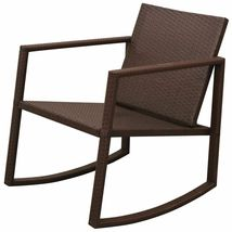 vidaXL Outdoor Rocking Chair Table 3 Piece Poly Rattan Brown Garden Furniture image 3