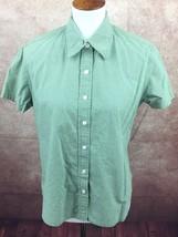 Gap Gingham Green & White Check Cotton Short Sleeve Shirt Top Blouse Women's M - $9.85