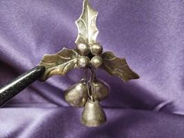 Vtg DAMASO GALLEGOS TAXCO MEXICO Holly Leak Bells Sterling Silver Brooch... - £51.27 GBP