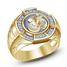 "Attractive 14K Yellow Gold Finish 925 Silver Round Cut White CZ Men's ""Om"" Ring - $112.30"