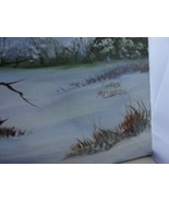 Vintage Painting On CANVAS Winter Scene In Mountains Snow Creek Signed  ... - $73.51