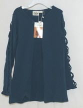Simply Noelle Curtsy Couture Girls Cutout Long Sleeve Shirt Misty Blue Large 6X image 1