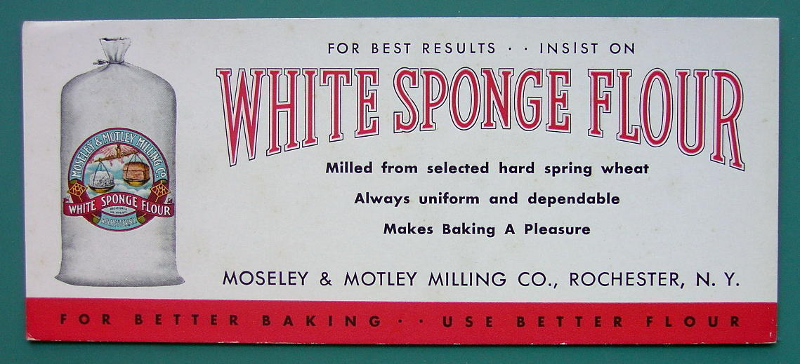 INK BLOTTER 1950s  - FLOUR White Sponge Rochester New York