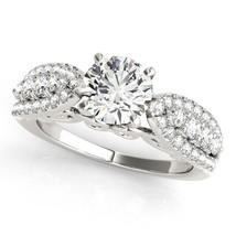 14k White Gold Multirow Shank Round Diamond Engagement Ring (1-1/2 cttw) - £5,502.21 GBP