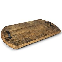 Reclaimed Rustic Bourbon Barrel Serving Tray with Handles- Made in USA f... - $109.97