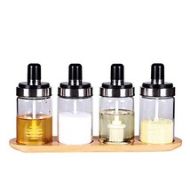 Condiment Pots Set, 4 Pack Condiment Container with Non-slip Bamboo Base... - £24.66 GBP