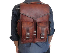 "15"" Leather Backpack Bag Rucksack Messenger Laptop Satchel Genuine Vintage - $51.48"