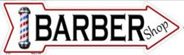 "Barber Shop Novelty Metal Arrow Sign 17"" x 5"" Wall Decor - DS - $21.95"