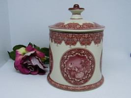 Red Transferware Biscuit Cookie Jar Porcelain Canister Medallian Victorian - $29.99