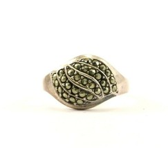 Vintage Dome Shape Design Marcasite Ring 925 Sterling RG 967 - $25.99