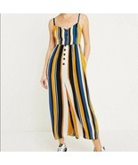 URBAN OUTFITTERS Spaghetti Strap Cropped Wide Leg Jumpsuit Stripe Womens... - $39.59
