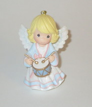 Precious Moments Angel Ornament Christmas Playing Drums NOS Retired No Box - $17.81