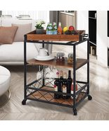 Solid Wood rolling Kitchen cart with 3 Tier Storage Shelves Wine Rack - $250.00