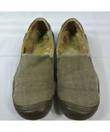 Womens KEEN shoes size 7.5 Olive green brown Canvas Leather slip-on loaf... - $25.65