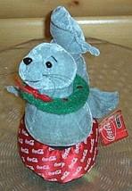 "Coca Cola Coke 11"" Plush Gray Seal with Holiday Wreath on Coke Pedestal ... - $6.29"