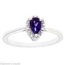 AMETHYST DIAMOND HALO ENGAGEMENT RING PEAR SHAPE 925 STERLING SILVER .36... - €91,79 EUR