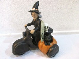 NEW Witch Crafters Halloween Witch on Motorcycle Cat Sculpture Decor - $26.99