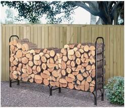 8 Ft Large Heavy Duty Firewood Log Holder Outdoor Steel Rack Wood Storag... - $69.29