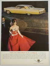 1963 Print Ad Cadillac 4-Door Car Elegantly Dressed Couple - $9.28
