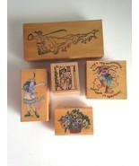 New VTG Rubber Stamps Your Choice Santa Dancer Harlequin Floral Basket  - $4.28+