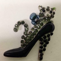 Stunning, Black Shoe-Cat Enamel Rhinestone Brooch 2in x 2in - $7.55