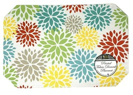 Dahlia Floral Print Fabric Placemat for Kitchen Table Set of 4 Multicolored - $19.59