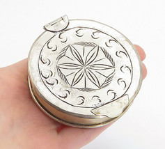925 Sterling Silver - Vintage Etched Floral Design Round Jewelry Case - ... - $139.42