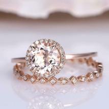 4Ct Round Cut Morganite Bridal Halo Engagement Ring Solid 14K Rose Gold ... - $94.49