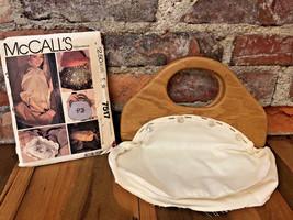 Vintage 80s Bermuda Bag Purse Wood Hinged Handles Liner Pattern McCall's... - $34.64