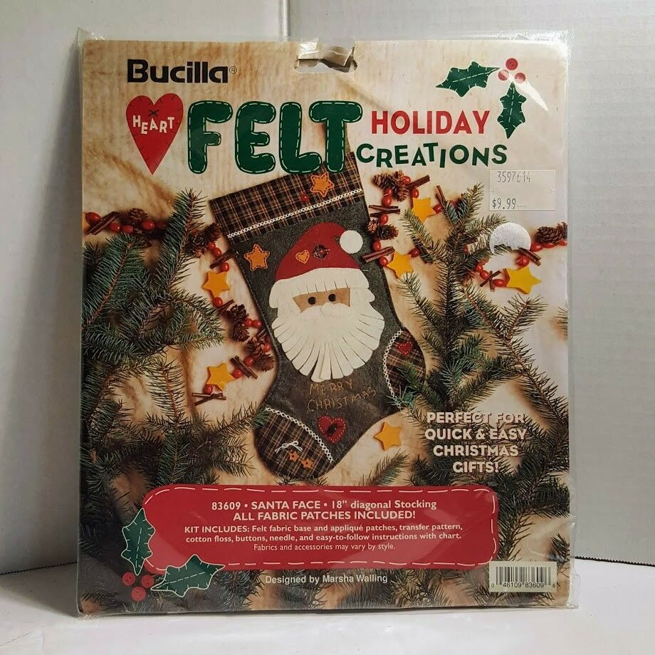Primary image for Bucilla Heart Felt Holiday Creations Christmas Stocking Kit Santa Face 83609
