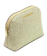 Michael Kors Make Up Bag Case Travel Pouch Pale Gold Glitter - $155.04