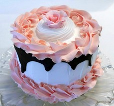"Fake Cake Peach & White w/ Dark Chocolate Drizzle 6"" Prop - $26.72"