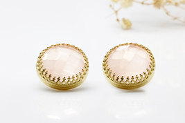 Rose quartz earrings,round stone earrings,pink earrings,gold earrings - $66.00+