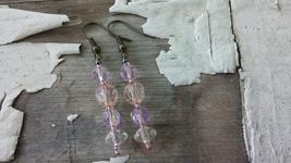 Vintage Lavender/Pink Crystal Beads/ Handmade Dangle Drop Earrings/Coppe... - $23.00