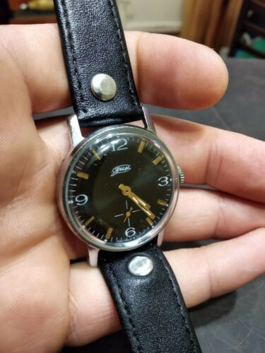 Watch Classic Black Dial Vintage ZIM Pobeda Square Men Retro Style Russian GIFT image 2