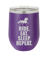 Stemless Wine Tumbler Coffee Travel Mug Glass Horse Ride Eat Sleep Repeat - €22,91 EUR