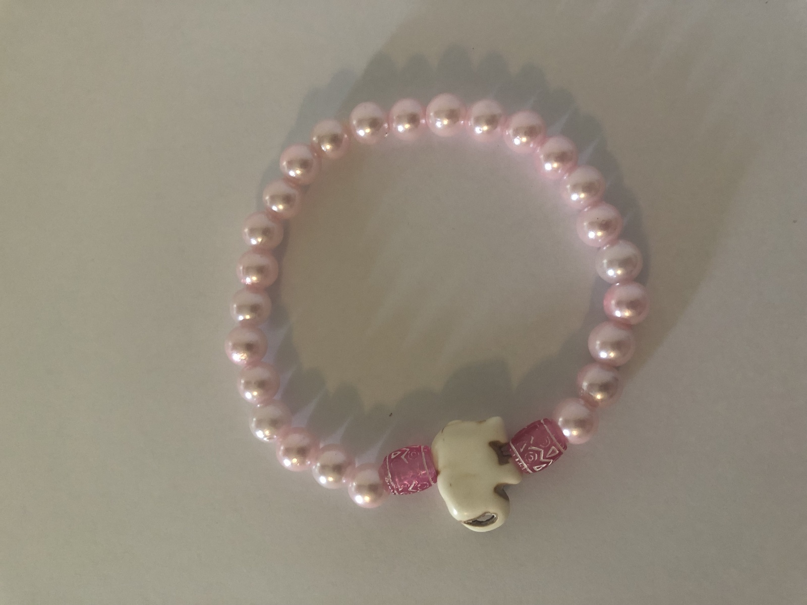 Pink Pearl Elephant Bracelet. Help Support Wounded Warrior