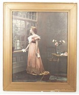 Antique Framed Lithograph Print Young Woman Victorian Era - $193.04