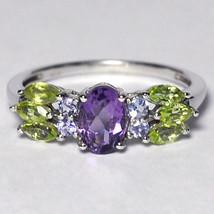 Natural Purple Amethyst Peridot Tanzanite Cocktail Ring Women Sterling S... - $59.00