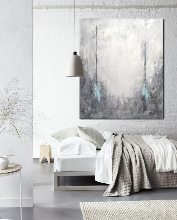Gray Abstract Large Canvas Oil Painting Art Decor