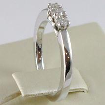 White Gold Ring 750 18K, Trilogy 3 Diamonds Carat Total 0.18, Shank Square image 3