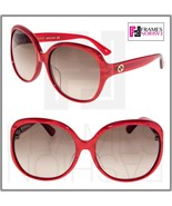GUCCI 0080 Oversized Red Pearl Gradient Sunglasses GG0080SK Authentic De... - $244.53