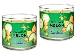 Bath & Body Works Cucumber Melon 3 Wick Scented Candle x2 - $55.99