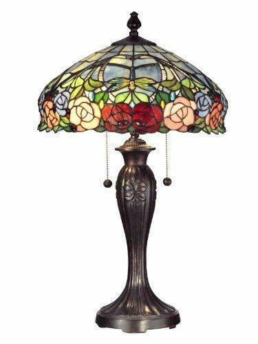 "Dale Tiffany TT12232 Zenia Rose Table Lamp 16.25"" x 16.25"" x 27"" Fieldstone"