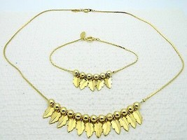 VTG PARK LANE Gold Tone Leaf Charm Necklace Choker & Bracelet Set - $39.60