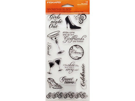 Fiskars Girls Night Clear Cling Stamp Set #01-005528