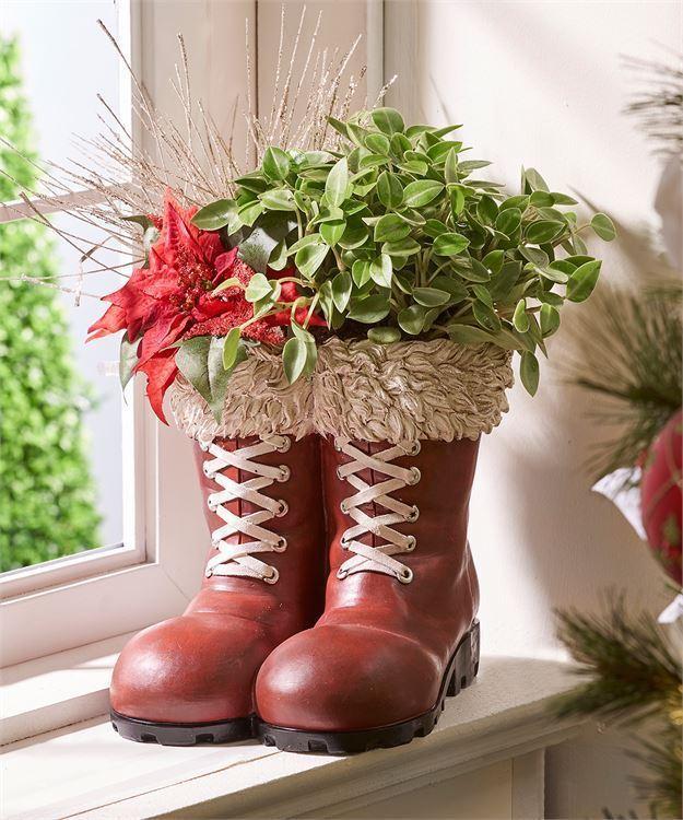 Santa Christmas Boot Design Planter w White Laces and White Fur Design Cuffs